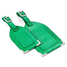 Set of 2 Luggage Tags in Grass Green Lizard