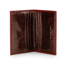 Double Credit Card Case in Cognac with Brown Snake