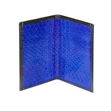 Double Fold Credit Card Case in Smooth Black & Cobalt Snakeskin