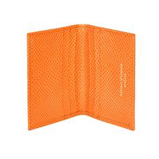 Double Fold Credit Card Case in Orange Lizard