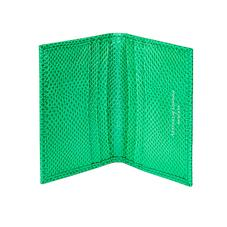 Double Fold Credit Card Case in Grass Green Lizard