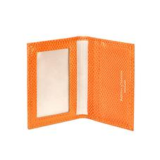ID & Travel Card Case in Orange Lizard & Cream Suede