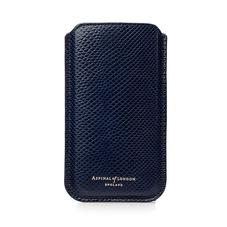 iPhone 6 / 7 Leather Sleeve in Midnight Blue Lizard & Cream Suede