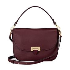 Slouchy Saddle Bag in Bordeaux Pebble