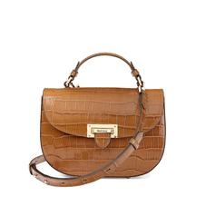 Letterbox Saddle Bag in Deep Shine Vintage Tan Croc