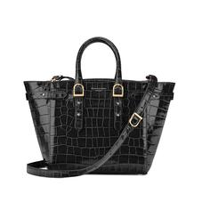 Midi Marylebone Tech Tote in Deep Shine Black Croc