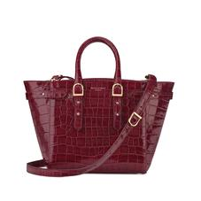 Midi Marylebone Tech Tote in Deep Shine Bordeaux Croc