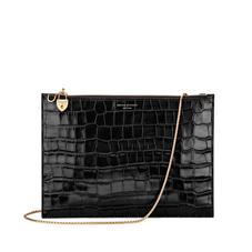 Soho Double Sided Clutch in Deep Shine Black Croc