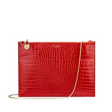 Soho Double Sided Clutch in Deep Shine Red Croc