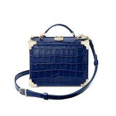 Mini Trunk Clutch in Deep Shine Navy Croc