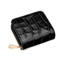 Mini Continental Zipped Coin Purse in Deep Shine Black Croc