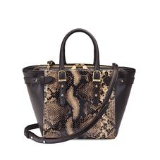 Mini Marylebone Tote in Smooth Dark Brown & Tan Snake Print