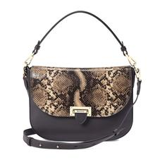 Slouchy Saddle Bag in Smooth Dark Brown & Tan Snake Print