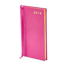 Slim Pocket Leather Diary in Raspberry Lizard