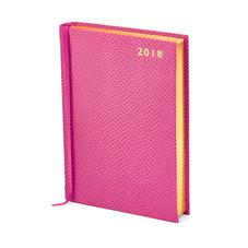 A6 Day per Page Leather Diary in Raspberry Lizard