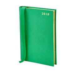 A5 Day per Page Leather Diary in Grass Green Lizard
