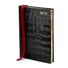 A5 Day per Page Leather Diary in Deep Shine Black Croc