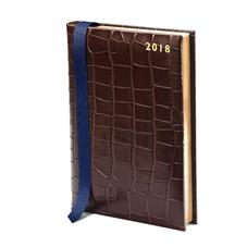 A5 Day per Page Leather Diary in Deep Shine Amazon Brown Croc