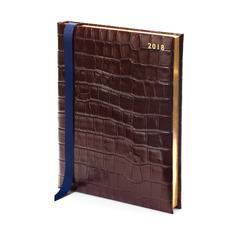 Quarto A4 Day per Page Leather Diary in Deep Shine Amazon Brown Croc
