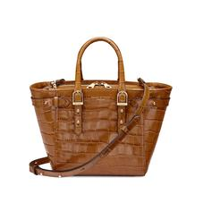 Mini Marylebone Tote in Deep Shine Vintage Tan Croc