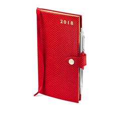Slim Pocket Leather Diary with Pen in Berry Lizard