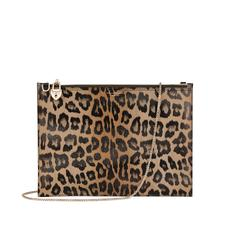 Soho Double Sided Clutch in Digital Leopard Print & Smooth Black