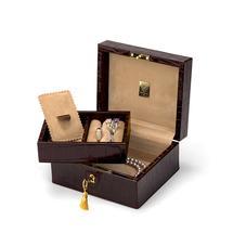 Bijou Jewellery Box in Deep Shine Amazon Brown Croc & Stone Suede