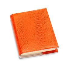 Refillable Pocket Notebook in Orange Lizard