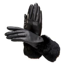 Ladies Fur Cuffed Gloves in Black