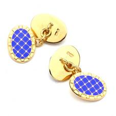 22ct Gold Plated & Enamel Constellation Cufflinks in Blue