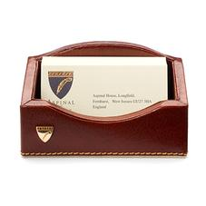 Business Card Holder in Smooth Cognac & Stone Suede