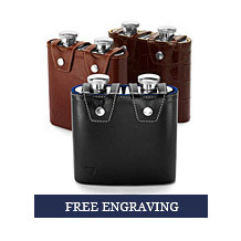 Double 6oz Leather Hip Flask. Leather Hip Flasks from Aspinal of London