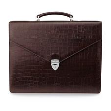 Executive Laptop Briefcase in Brown Matt Croc & Stone Suede