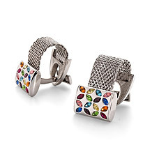 Swarovski Cufflinks. Sterling Silver, Gold & Enamel Cufflinks from Aspinal of London