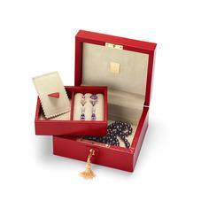 Bijou Jewellery Box in Berry Lizard & Cream Suede