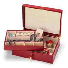 Grand Luxe Jewellery Case in Berry Lizard & Cream Suede