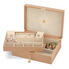 Grand Luxe Jewellery Case in Deer Saffiano & Cream Suede