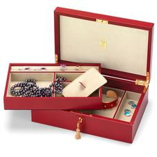 Savoy Jewellery Box in Berry Lizard & Cream Suede