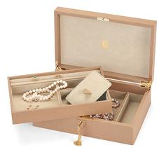 Savoy Jewellery Box in Deer Saffiano & Cream Suede
