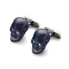 Sterling Silver & Blue Enamel Skull Cufflinks