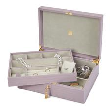 Grand Luxe Jewellery Box in Deep Shine Lilac Small Croc