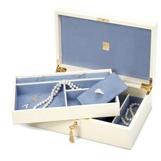 Savoy Jewellery Box in Deep Shine Ivory Small Croc