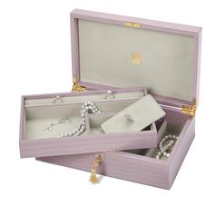 Savoy Jewellery Box in Deep Shine Lilac Small Croc
