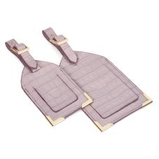 Set of 2 Luggage Tags in Deep Shine Lilac Small Croc