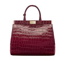 Large Florence Snap Bag in Deep Shine Bordeaux Croc