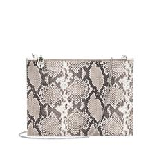 Soho Clutch in Smooth Ivory & Natural Python Print