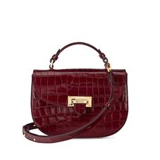 Letterbox Saddle Bag in Deep Shine Bordeaux Croc