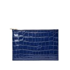 Large Essential Flat Pouch in Deep Shine Navy Croc