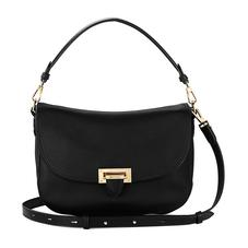 Slouchy Saddle Bag in Black Pebble