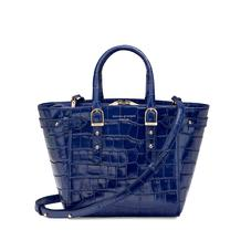 Mini Marylebone Tote in Deep Shine Navy Croc